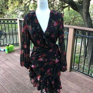 Nine West Black Floral Wrap Dress 6
